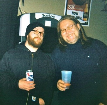 Jake Larson (with fellow sound engineer John Farrell) at the late-night portion of my wedding reception... already way back in December 2013!